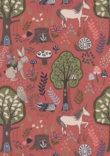 Lewis & Irene - Enchanted Forest A185.2 - Enchanted Forest On Dusky Red