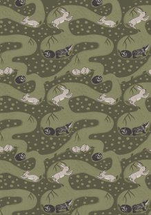 Lewis & Irene - Enchanted Forest A188.3 - Bunny Tunnels On Forest Green