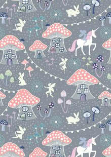 Lewis & Irene - Fairy Nights A403.1 - Mushroom village on dusky grey