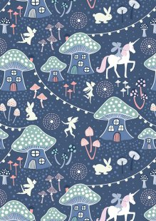 Lewis & Irene - Fairy Nights A403.3 - Mushroom village on midnight blue