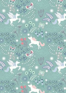 Lewis & Irene - Fairy Nights A405.1 - Unicorn meadow on soft teal