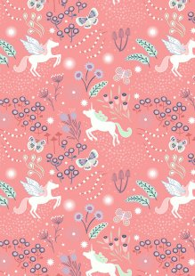 Lewis & Irene - Fairy Nights A405.2 - Unicorn meadow on peachy pink