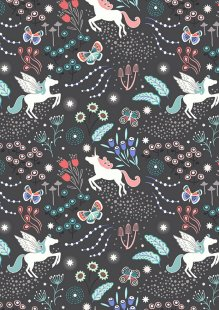 Lewis & Irene - Fairy Nights A405.3 - Unicorn meadow on black