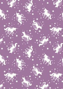 Lewis & Irene - Fairy Nights A407.1 - Unicorn spots on soft blackberry