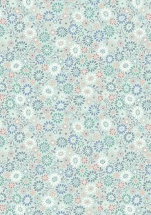 Lewis & Irene - Flo's Little Florals FLO2.2 - All Around Daisy On Blue