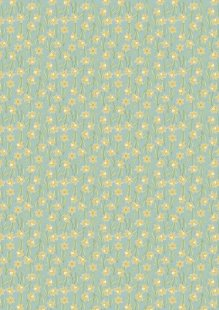 Lewis & Irene - Flo's Little Florals FLO3.3 - Daffodils On Sage
