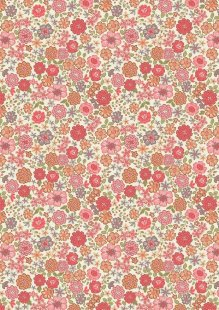 Lewis & Irene - Flo's Little Florals FLO4.2 - Red And Orange Blooms
