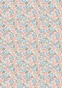 Lewis & Irene - Flo's Little Florals FLO7.2 - Floral Leaves On Pink And Blue