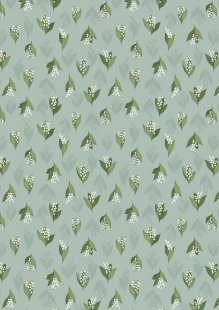 Lewis & Irene - Flo's Wild Flowers FLO11.3 - Lily Of The Valley On Duck Egg