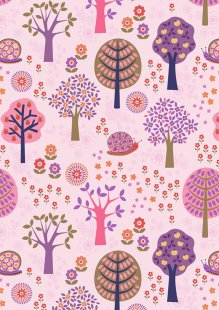 Lewis & Irene - Flower Child A434.1 Groovy forest on pink
