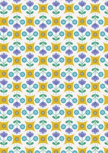 Lewis & Irene - Flower Child A438.1 Fab floral circles on yellow