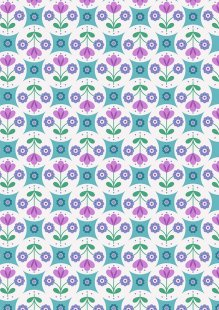 Lewis & Irene - Flower Child A438.2 Fab floral circles on blue
