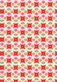 Lewis & Irene - Flower Child A438.3 Fab floral circles on red