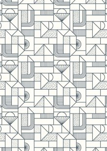 Lewis & Irene - Forme A411.1 - All over geometric navy on cream