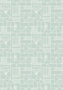 Lewis & Irene - Forme A411.2 - All over geometric white on soft duck egg