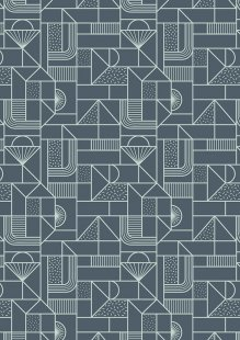 Lewis & Irene - Forme A411.3 - All over geometric soft blue on navy
