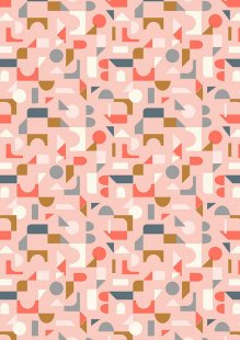 Lewis & Irene - Forme A412.2 - Scattered geometric on blush pink