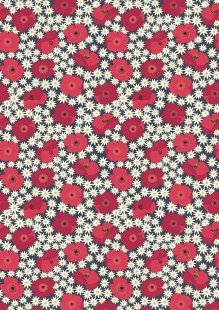 Lewis & Irene - Grandma's Garden A197.3 - Red Poppy On Dark Grey