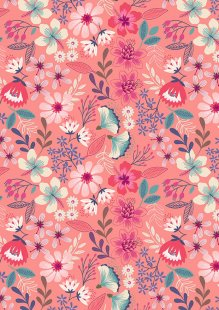 Lewis & Irene - Hummingbird A430.2 Summer floral on dark blush