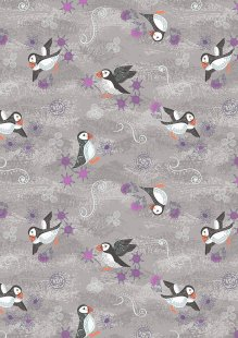 Lewis & Irene - Iona A483.2 - Warm grey puffins with silver metallic