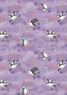 Lewis & Irene - Iona A483.2 - Purple puffins with copper metallic
