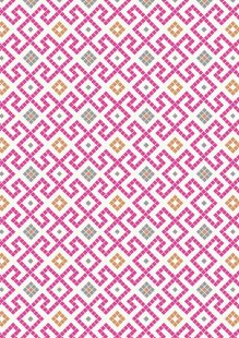 Lewis & Irene - Lindos A267.2 - Pink Greek tiles with copper