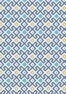 Lewis & Irene - Lindos A267.3 - Dark blue Greek tiles with gold