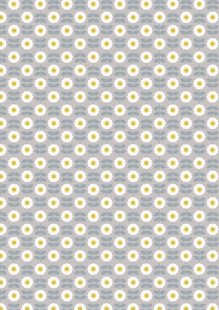 Lewis & Irene - Love Me Love Me Not A274.2 - Retro daisy on mid grey
