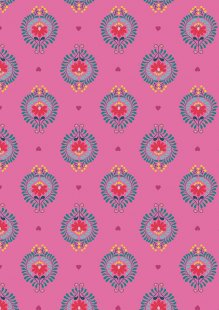 Lewis & Irene - Maya A385.2 - Heart Floral On Pink