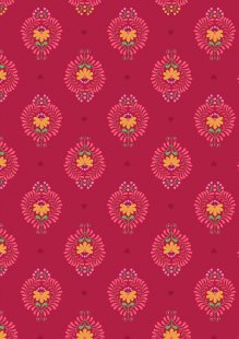 Lewis & Irene - Maya A385.3 - Heart Floral On Deep Rose