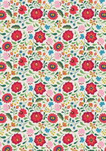 Lewis & Irene - Maya A387.1 - Folksy Flowers On White