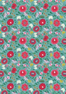 Lewis & Irene - Maya A387.2 - Folksy Flowers On Turquoise