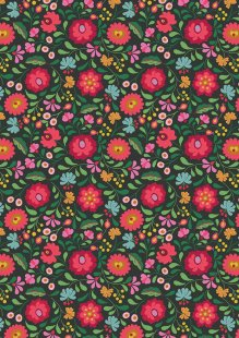 Lewis & Irene - Maya A387.3 - Folksy Flowers On Black