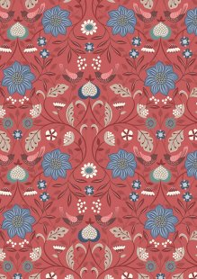 Lewis & Irene - Michaelmas A398.2 - Little Bird On Floral Red