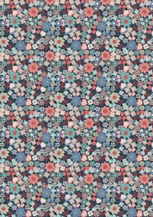 Lewis & Irene - Michaelmas A401.3 - Multi Floral On Dark Blue
