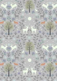Lewis & Irene - Nighttime In Bluebell Wood A476.1 Mirrored woodland on grey