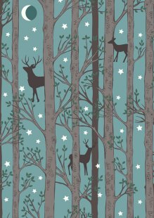 Lewis & Irene - Nighttime In Bluebell Wood A478.1 Forest deer blue