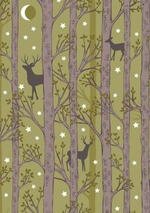 Lewis & Irene - Nighttime In Bluebell Wood A478.2 Forest deer on leaf green