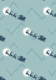 Lewis & Irene - Northern Lights C1.2 Santa's sleigh on icy blue (Metallic)