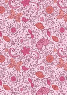 Lewis & Irene - Sew Mindful A261.2 - Floral flow on peaceful pink