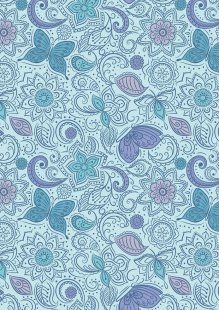 Lewis & Irene - Sew Mindful A261.3 - Floral flow on blissful blue