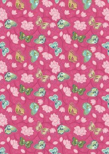 Lewis & Irene - Sew Mindful A265.3 - Lotus flowers on hot pink
