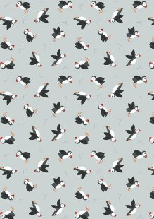 Lewis & Irene - Small Things By The Sea SM19.1 Puffins on light grey