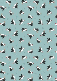 Lewis & Irene - Small Things By The Sea SM19.3 Puffins on blue