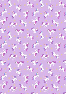 Lewis & Irene - Small Things Mystical & Magical SM6.3 - Unicorns on lavender (with gold metallic)