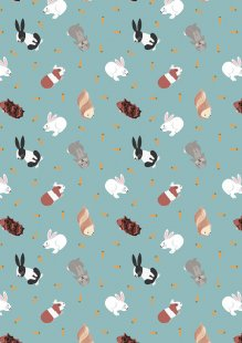 Lewis & Irene - Small Things Pets SM27.2 Rabbits on turquoise blue