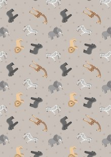 Lewis & Irene - Small Things World Animals SM24.1 - African animals on soft elephant grey