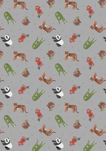 Lewis & Irene - Small Things World Animals SM25.3 - Asian animals on grey