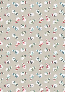 Lewis & Irene - Snow Day C35.1 - Scattered snowmen on dark cream