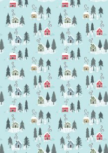 Lewis & Irene - Snow Day C36.2 - Snow day houses on icy blue